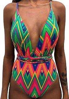 comprar comparacion Bañador Halter Escote V Bandeau Traje de Baño Mujer Bañadores Una Pieza Mujer Playa Natacion Bikinis de Flores con Relleno...