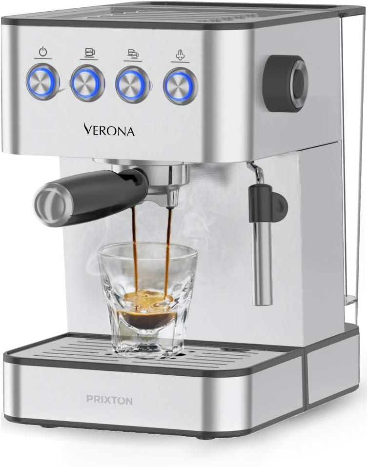 PRIXTON Verona - Cafetera Expresso Automática Bomba Italiana 850 W 20 Bares de Presión Vaporizador Ajustable Portafiltro de Doble Salida