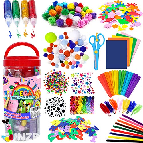 FunzBo Arts and Crafts Supplies for Kids - Craft Art Supply Kit for Toddlers Age 4 5 6 7 8 9 - All in One D.I.Y. Crafting Collage School Supply Arts Set for Kids