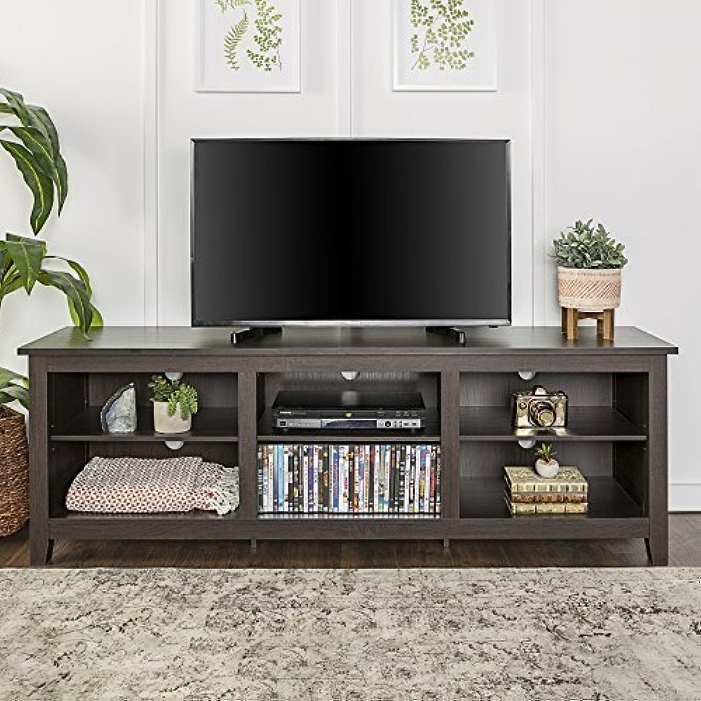 地殻牛肉話すWE Furniture 70 Espresso Wood TV Stand Console [並行輸入品]