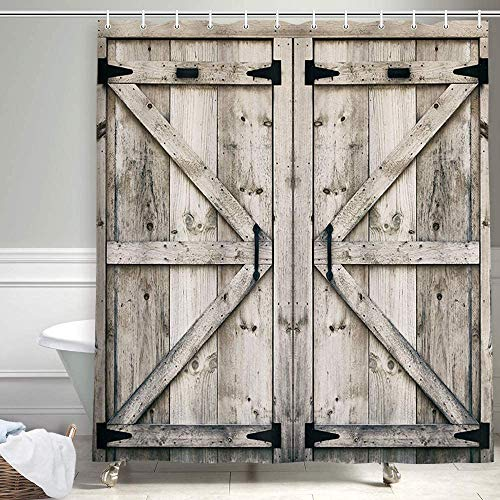 Rustic Wooden Vintage Wood Shower Curtain, Farmhouse Wooden Shower Curtain Country Barn Door Shower Curtain with 12 Hooks, Waterproof Garage Cabin Shower Curtain, 69X84in