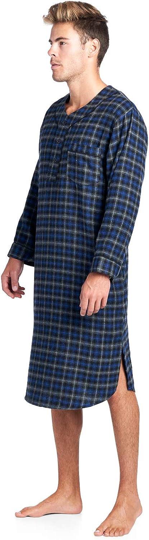 Ashford /& Brooks Mens Flannel Plaid Long Sleep Shirt Henley Nightshirt
