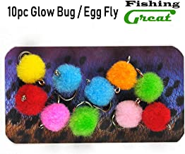 Greatfishing Glow Bug/Egg Flies #12 Hook 10pc/ Pack Mixed Color Trout Fishing Flies Trout Wet Assortment Streamer Fly Tying Materials