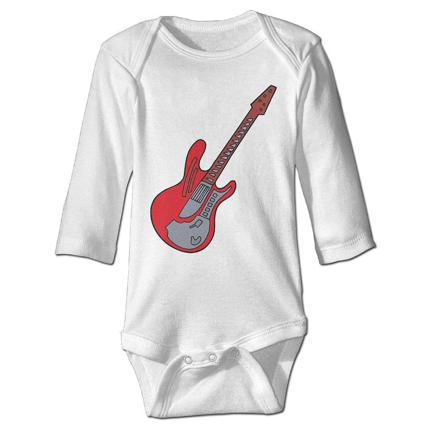 騒乱色合い捨てるギターパターンユニセックスベビーボーイズ女の子服長袖ボディスーツサイズ2T
