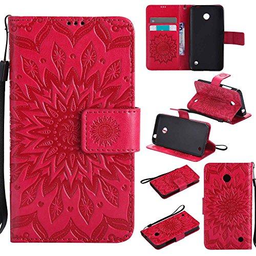pinlu® PU Leder Tasche Etui Schutzhülle für Nokia Lumia 630 635 Lederhülle Schale Flip Cover Tasche mit Standfunktion Sonnenblume Muster Hülle (Rot)