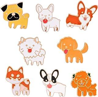 JLJ Cute Cat Dog Enamel Lapel Pin Cartoon Animal Enamel Pin Set