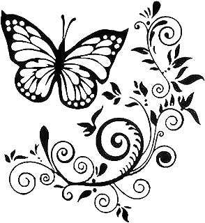 interjunzhan Beautiful Decal Car Truck Sticker Decoration Butterfly Flower Hood Tailgate Side Window Black