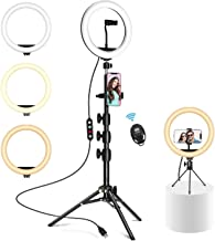 10.2 inch Selfie Ring Light with Tripod and Desk Stand, Dimmable Led Camera Ringlight, 2 Phone Holders for Photography/Makeup/Live Stream Video/YouTube,Compatible with iPhone/Android, SOIOANS (Black)