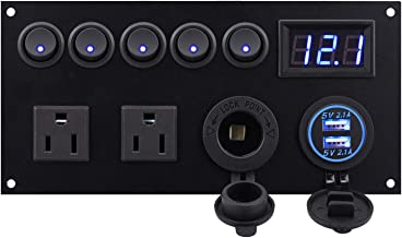 Cllena Dual USB Charger Socket 4.2A + 12V Power Outlet + LED Voltmeter + Dual 15A Outlets with 5 Gang Toggle Switch Multi-Functions Panel for Marine Boat Rv Camper Caravan Home Office Wall Plate etc.