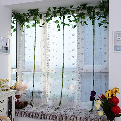 Janly Clearance Sale Home Decor , Purple Embroidered flower Tulle Window Screens Door Balcony Curtain Sheer (Photos Color)