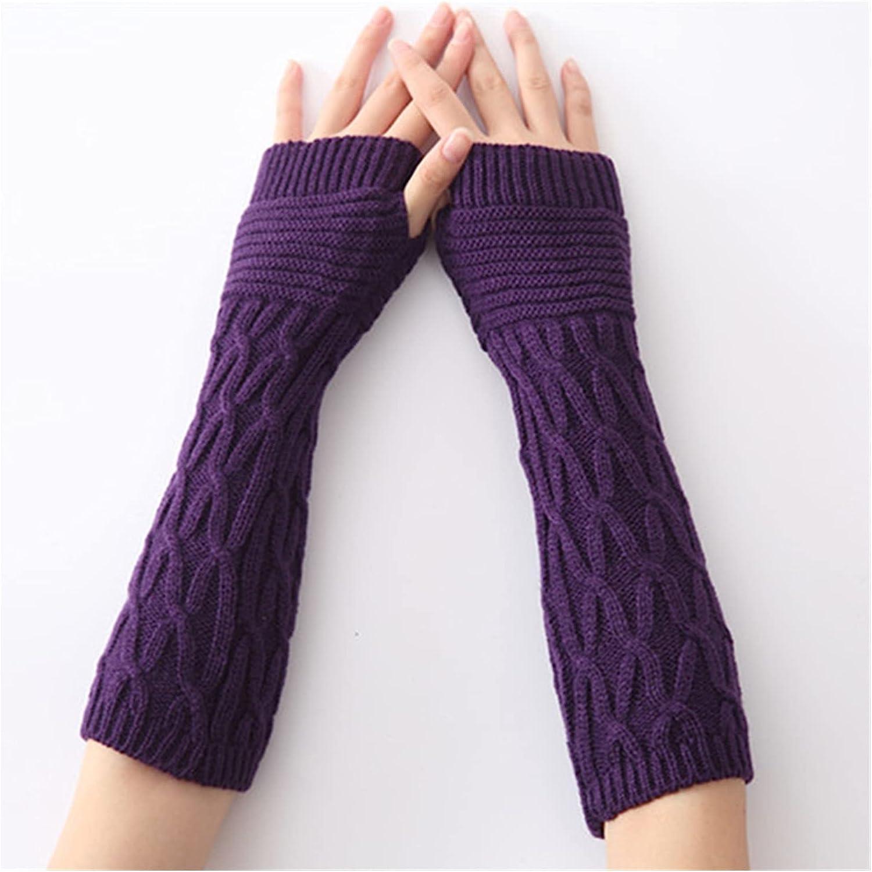 YSJJSQZ Winter Gloves Winter Women Long Fingerless Sleeves Mittens Solid Soft Warm Acrylic Stretch Knit Half Finger Arm Warmers Gloves (Color : Purple A129, Gloves Size : 31x8cm)