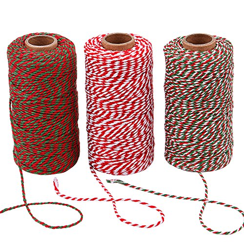 Sunmns 3 Roll Christmas Twine Cotton String Rope Cord for Gift Wrapping, Arts Crafts, 984 Feet (Multicolor B)
