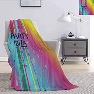 Luoiaax Ibiza Bedding Flannel Blanket Rainbow Colored Grunge Paint Splashes Design with Party Ibiza Summer Season Festivity Super Soft and Comfortable Luxury Bed Blanket W70 x L84 Inch Multicolor
