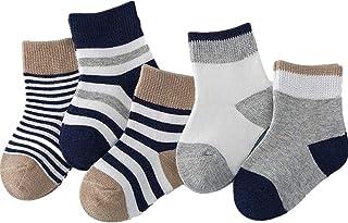 Pack de 5 Pares Calcetines para Bebé Recién Nacido Antideslizante Calcetín 0-1 Años Calcetines de Invierno Cómodo Zapatos de Bebé