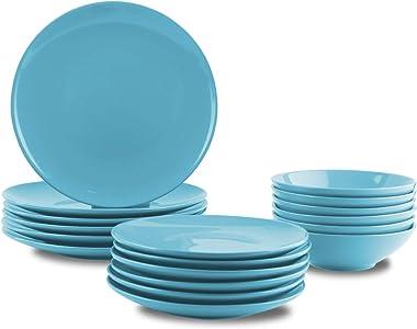 AmazonBasics 18-Piece Stoneware Dinnerware Set - Sky Blue, Service for 6