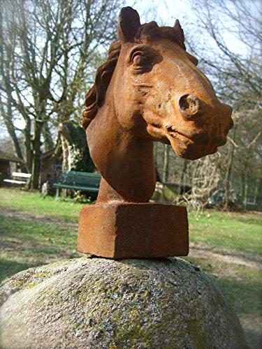 Antikas - Pferdekopf Skulptur für Pfosten und Mauerpfeiler Gartendeko Pferd Eisen-Rost