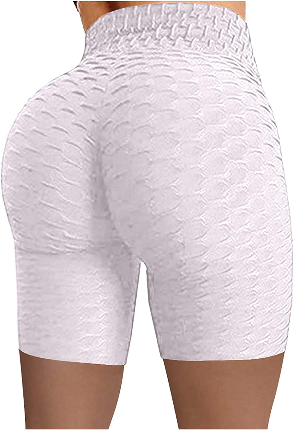 poundy outerwear Women's Biker Yoga Shorts High Waist Solid Color Shorts Wrinkled Sports Pants Compression Shorts