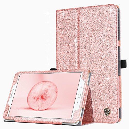BENTOBEN Funda Samsung Galaxy Tab A 10.1, Brillante Libro con Modo de Auto Sueño/Despertador en Cuero de PU con Magnético Delgada Carcasa para Galaxy Tab A 10.1 T580N /T585N A6 2016 Tablet, Oro Rosa