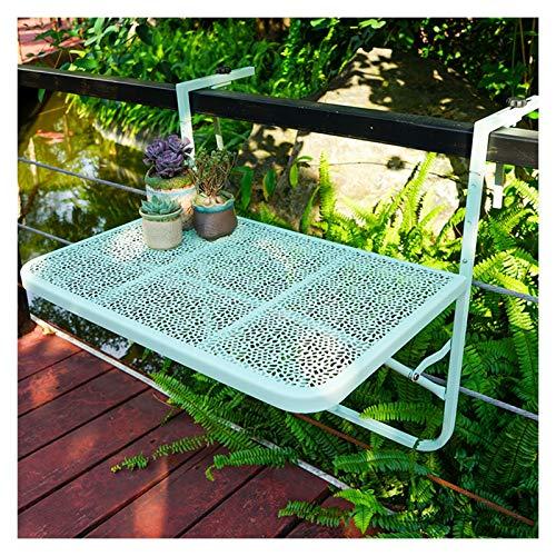 AMDHZ Balkonklapptisch Klapptisch Balkon Zuhause Geländer Hängen Tisch Faltbarer Blumenständer Tisch Im Freien Zum Balkon Terrasse Garten (Color : Green)