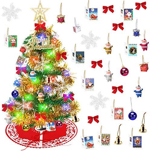 Yodeace Arbol de Navidad Pequeño,Arbol Navidad Pequeñocon Falda Arbol Navidad,60cm Mini Arbol de Navidad