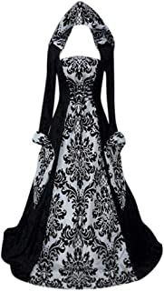👏 Happylove 👏 Medieval Dress Womens,Renaissance Lace Up Vintage Gothic Dress Halloween Cosplay Dresses Hooded Costume