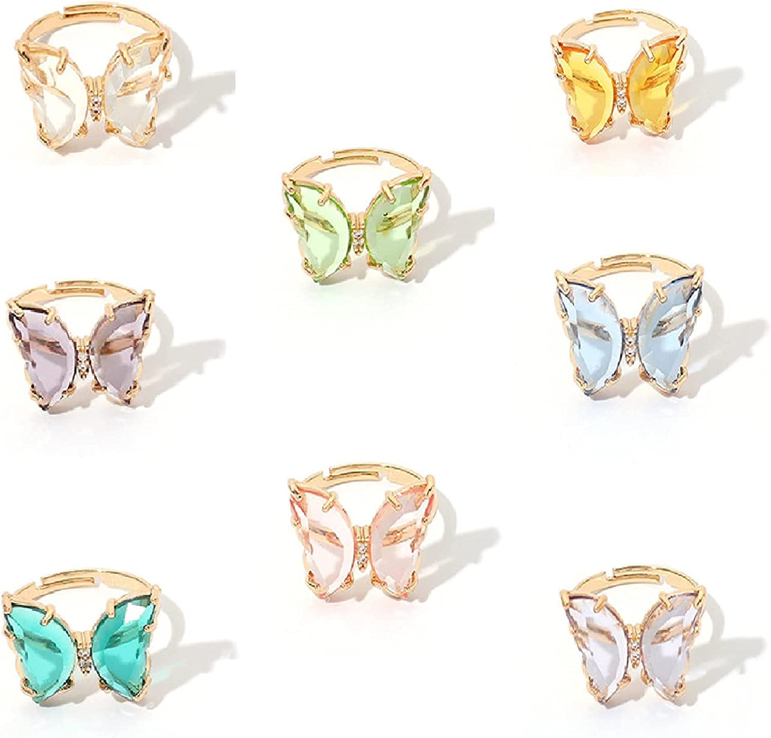 8 Pcs Acrylic Butterfly Rings Butterfly Crystal Rings Colorful Vintage Cute Rings Jewelry Colorful Butterfly Crystal Rings Set Dainty Butterfly Statement Rings for Girl Women Teens