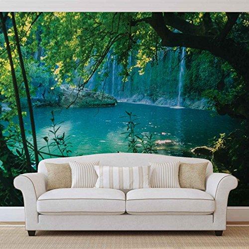 Tropische waterval Lagune Bos - Forwall - Fotobehang - behang - Fotoural - Mural Mural Mural - (1783WM) - XXL - 206cm x 275cm - VLIES (EasyInstall) - 2 Pieces