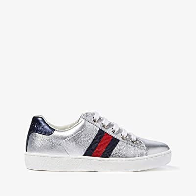 Gucci Kids New Ace Sneakers (Little Kid) (Silver Metallic) Kids Shoes