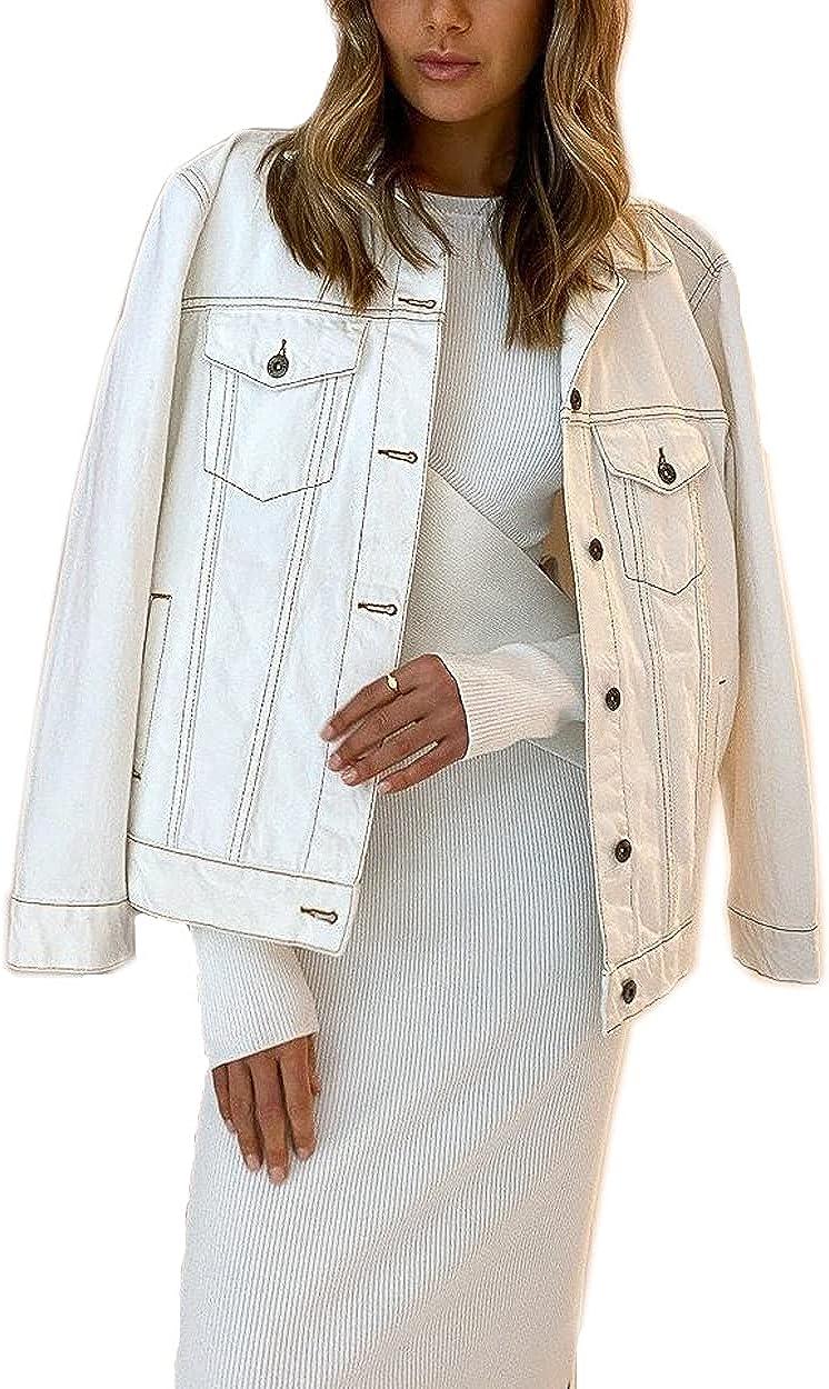Roiii Women's Denim Jean Lightweight Casual Jacket Coat Oversize Vintage denim jacket,Long Sleeve Boyfriend Jacket