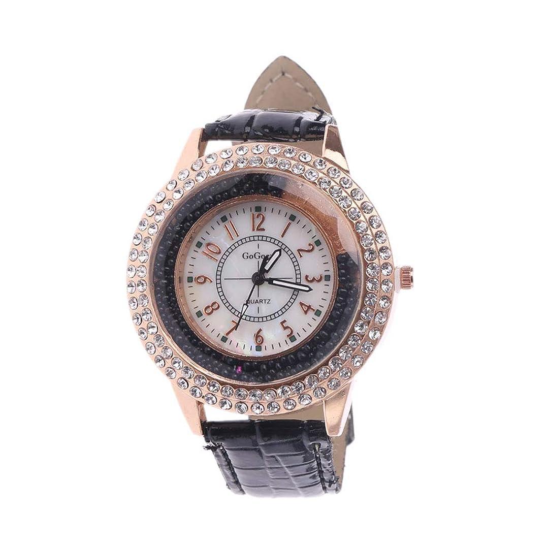 オン暗殺する目的DaeumレディースLuxeフルクリスタルオーナメントウォッチファッションクォーツフェイクレザーストラップメタル腕時計ソリッドカラーデイリー腕時計ガールズレディース