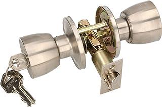 KOTARBAU Deurknop met slot metalen draaiknop cilinder vergrendeling rond deurgreep draaibaar slot met 3 sleutels rozet ins...