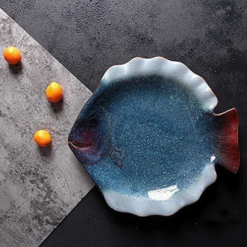 Plato de cerámica para peces marinos, paneles planos, platos de vajilla de alta gama, Creative Western Board (color: azul, tamaño: 7.5 pulgadas estrella de mar mariposa)