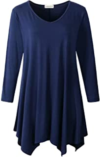 Plus Size Tunic Tops for Women Asymmetrical 3/4 Sleeve Shirts V Neck Flowy Blouse for Leggings