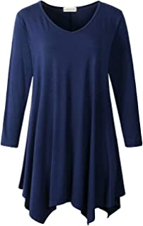 LARACE Womens V-Neck Plain Swing Tunic Top Casual T Shirt