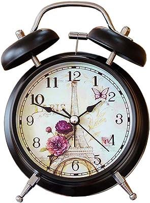 Feng Xu Despertador - Timbre de Doble Timbre con luz Nocturna Multifuncional Timbre de Metal Reloj