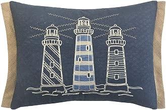 Comfy Hour Ocean Coastal Three Lighthouses Accent Pillow Throw Pillow Blue Decorative Cushion, 18