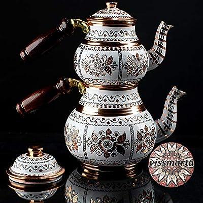 Vissmarta Vintage Copper Turkish Teapot Tea Kettle for Stovetop as Pots Set - Handmade Antique Decorative Arabic for Serving Drinking Housewarming Kitchen Birthday Party Gift Women 33.8 fl - 16.9 fl