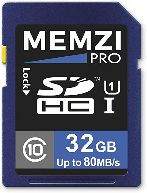 Memzi Pro 32GB Clase 10 80MB/s Tarjeta de Memoria SDHC para Canon EOS Rebel/EOS Cámaras Digitales o Cinema Videocámaras