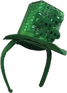 Green Sequin St. Patrick's Day Mini Shamrock Top Hat Headband St. Paddy's Leprechaun