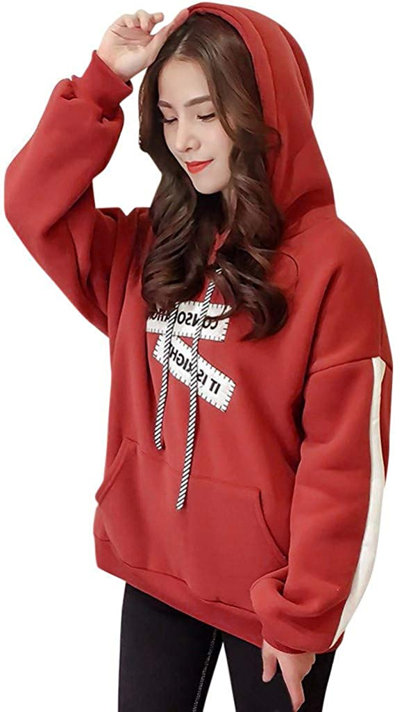 Letter Print Hoodies for Women Easy-to-use Sweatershirt Blouse Max 60% OFF Solid H Comfy
