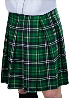 St. Patrick's Day Adult Green Plaid Kilt | Party Costume I 2 Ct
