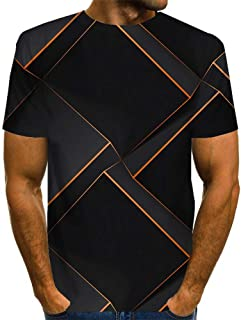 Men's 3D Geometric Graphic Optical Illusion T-Shirt Print Short Sleeve Daily Tops Basic Exaggerated Round Neck