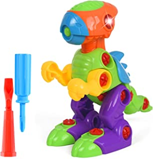 WolVol 18-Piece Take-A-Part Building Dino Dinosaur - Toddler Assembly STEM Toy - Lights & Music - Take Apart for Boys & Girls - Screwdriver Included - Educational Put Together - Motor Skill
