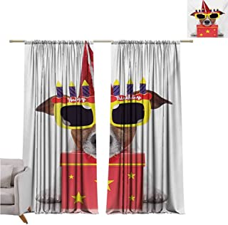 Curtain tiebacks Kids Birthday,Happy Party Dog with Sunglasses and Cone Hat Boxes Stars Image Print,Red and Yellow W120 x L108 inch,Fit Farmhouse Window