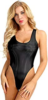 Women's Wet Look Metallic High Cut Holographic Thong Leotard Gymnastics Slim Bodysuit Swimsuits