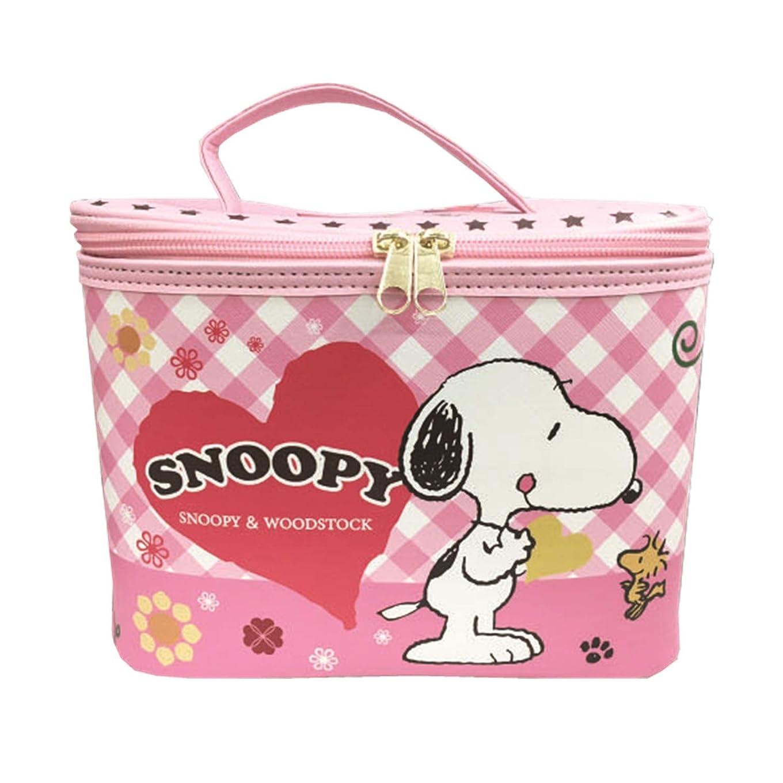 【SNOOPY】 スヌーピー バニティ ケース + ミニタオル セット 大容量 コスメ ポーチ 化粧 バッグ ミラー付き