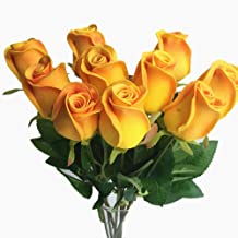 10pcs Real Touch Rose Simulated Fake Latex white/red/pink/yellow/champgne Roses 43cm for Wedding Party Artificial Decorative Flowers (champagne)