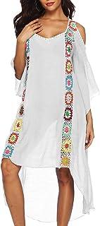legumbres Permitirse Ashley Furman  Amazon.es: vestidos playeros - Blanco