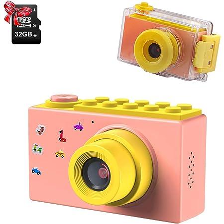 "ShinePick Impermeable Cámara Fotos Niños con Zoom Digital de 4X / 8MP / 1080HD / 2"" TFT LCD de la Pantalla Cámara Infantil con Tarjeta de Memoria (Rosa,32GB Tarjeta incluida)"