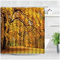 秋の風景シャワーカーテンメープルフォレスト黄金の葉田舎の3Dナチュラル防水生地バスルームの装飾ハンギングカーテン-180x180cm